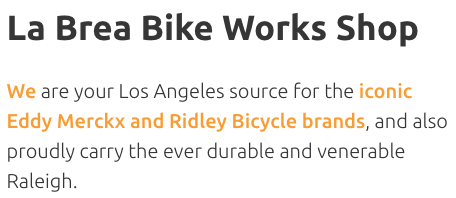 La Brea Bike Works Shop